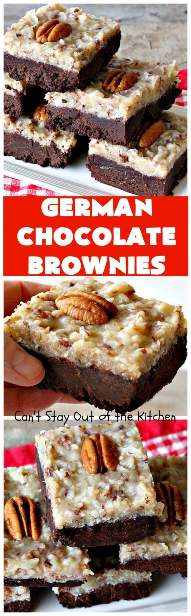 German Chocolate Brownies | These sensational#brownies have a thick, dense, fudgy chocolate layer topped with coconut pecan icing. These are a seriously addictive dessert!