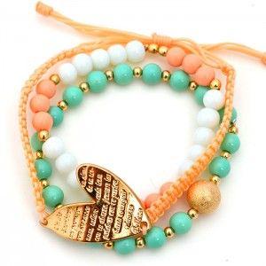Pulsera Corazón Pepas Pastel www.dulceecanto.com - Tienda online de accesorios para mujer #accesorios #aretes #collares #pulseras #bolsos #bisuteria #moda #fashion #colombia