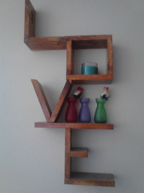 Handmade And Stained Wooden Love Shelf
