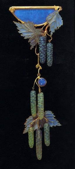 "AN ART NOUVEAU OPAL, ENAMEL, GLASS AND GOLD ""WILLOW CATKINS"" CORSAGE ORNAMENT, BY RENE LALIQUE - circa 1904"