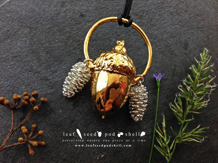 Love the way this acorn turned out.  The gold is so deep and rich, and those tiny cones in silver work perfectly either side.   #leafseedpodshell #crystal #crystals #electroform #electroforming #electroformed #jewelry #jewellery