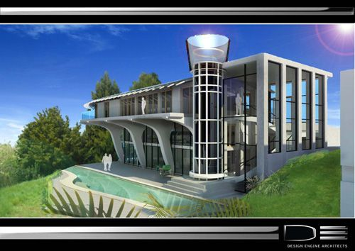 """Design Engine Architects Ltd. Hamilton NZ Ratcliffe House - see other pic. The design celebrates """"structural expressionism"""" through """"Flying Magaftas"""" - curved, organic columns/beams on the outside and inside of the House. The House will have the first curved glass lift in residential construction in New Zealand, this is meant to be an abstracted Egyptian Bud Column in Glass, creating a beacon of light at night."""