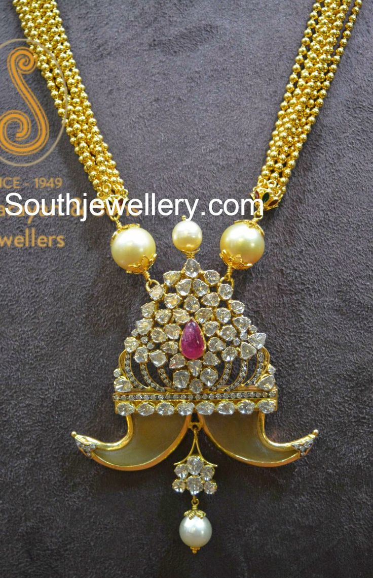22 carat gold floral designer pendant with multiple beads chain and - Diamond Puligoru Pendant