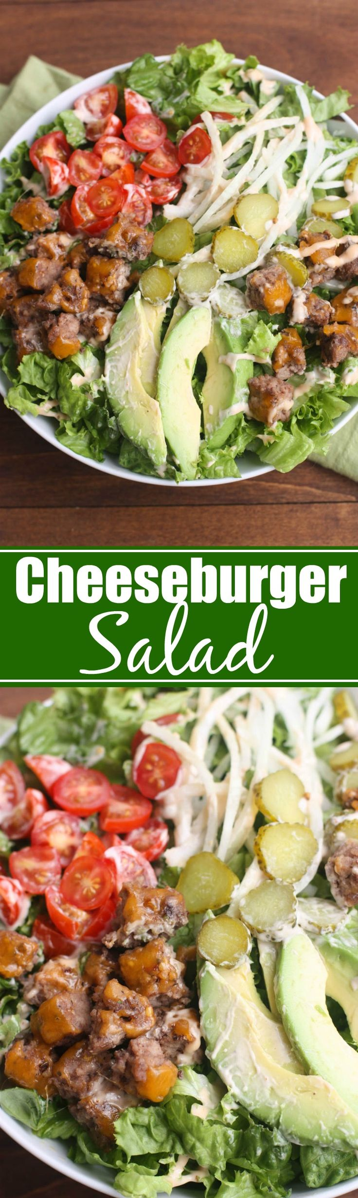 My family loves this Cheeseburger Salad. All of our favorite burger toppings layered onto a delicious, hearty salad. | Tastes Better From Scratch