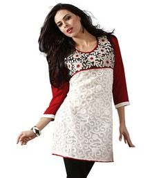 Fabdeal White Faux Georgette Kurti. I love kurtis! Style and colour possibilities are endless, and they can suit any figure.