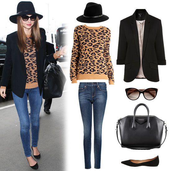 Rag & Bone Floppy Brim Fedora ($175), Topshop Ponte Rolled Sleeve Blazer ($70), Prada Oversized Cat's-Eye Sunglasses ($245), Givenchy Antigona Medium Satchel Bag ($2,405), Steve Madden Vegass Black Suede Flat ($80), Mango Premium Super Slim Jeans ($80), A.L.C. Leopard Sweater ($365)
