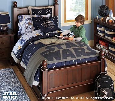 "see the big ""star wars"" throw blanket at the foot of the bed.. that could easily pair with the patchwork squares quilt"