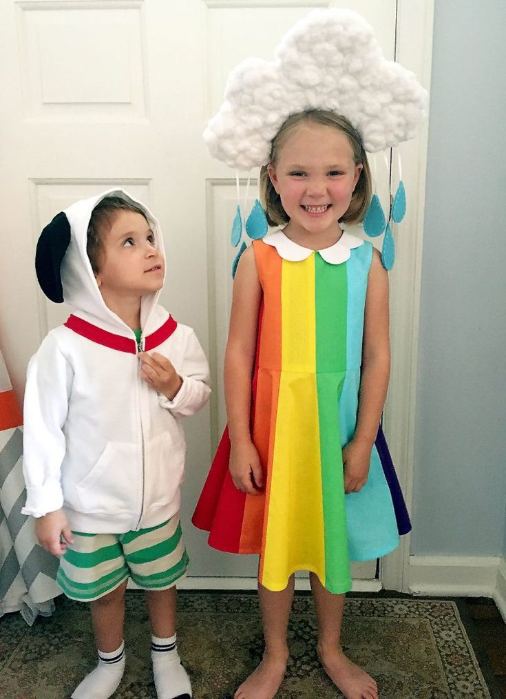 Oliver + S Building Block Dress turned into a rainbow and cloud costume