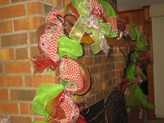 Christmas Garland In Red & Green Deco Mesh by TallahatchieDesigns, $75.00