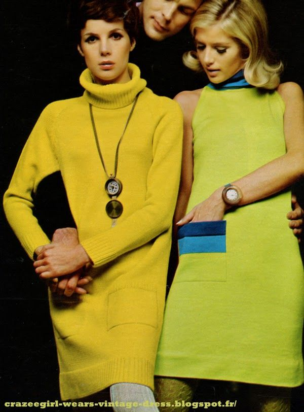 Dress yellow sweater lower pockets and hem ribbed / yellow knit dress , Hit Parade green sheath dress without sleeves, collar and pocket striped / green knit shift dress with striped collar and pocket, Korrigan at Jean Destre Watches / watch, Catherine Chaillet in Victory