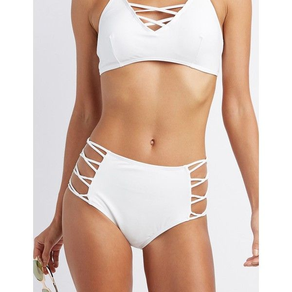 Charlotte Russe Strappy High-Waisted Bikini Bottoms (€12) ❤ liked on Polyvore featuring swimwear, bikinis, bikini bottoms, white, high waisted bikini, strappy high waist bikini bottom, swim bikini bottoms, white high waisted bikini and high-waisted bikinis