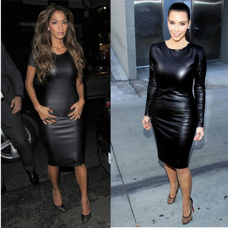 Sexy Women Wet Faux Leather Look Short/Long Sleeve Bodycon Midi Party Dress #Unbranded #Stretch #Clubwear