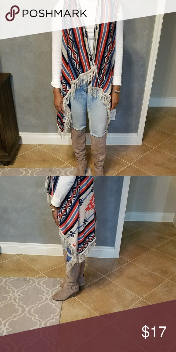 Chic Tribal Print Sweater Vest Stylish draped Azteca Tribal Print Sweater Vest Size:Small Perfect with jeans,leggings,boots..... Sweaters