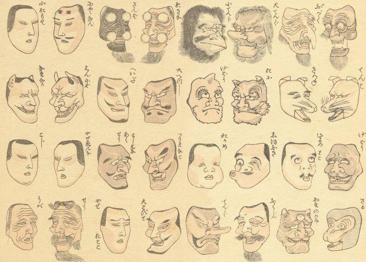 KATSUSHIKA HOKUSAI Masks for dancing in festivals. Three, Reproducción sobre Calidad 200gsm de espesor en Cartel A3 Tarjeta Brillante: Amazon.es: Hogar