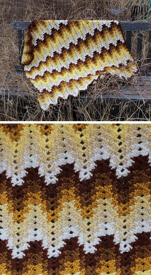Grandma Spiked My Ripple, free pattern by Darlisa Riggs.  Written pattern with lots of detail, plus a pattern diagram that shows this isn't *nearly* as hard as it looks.  #crochet #afghan #blanket #throw