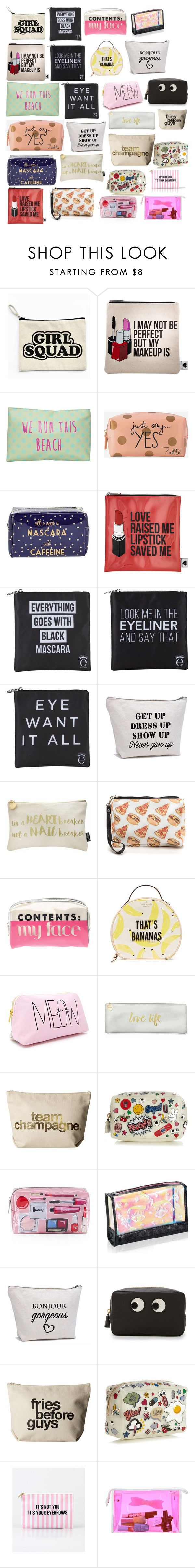 """""""Cute Makeup Bags"""" by terminally-chill ❤ liked on Polyvore featuring Sephora Collection, T-shirt & Jeans, Zoella Beauty, Tri-coastal Design, Eyeko, Nails Inc., Kate Spade, Forever 21, Fringe and Dogeared"""