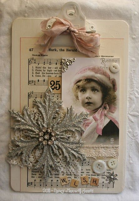 Christmas Memories...old painted clipboard with vintage memorabilia and papers.