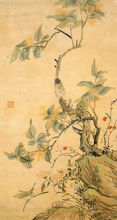 (Korea) 초충도 by Hyeonjae Shim Sa-jeong (1707-1769). ca 18th century CE. Joseon Kingdom, Korea. color on paper. Private collection.