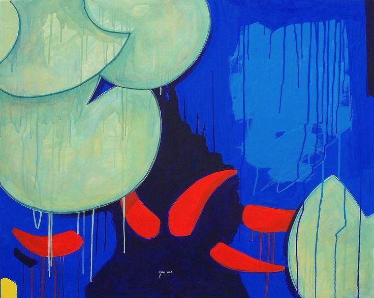 """andrea mattiello """"Anime rosse"""", acrilico, pastello e collage su tela cm 1000x80; 2016 """"NINFEE; I FIORI D'ACQUA"""", 17 - 31 agosto 2016, Spazio espositivo di Via della Cervia, Lucca #andreamattiello #waterflower #waterlilies #ninfea #collage #contemporaryart #lucca"""