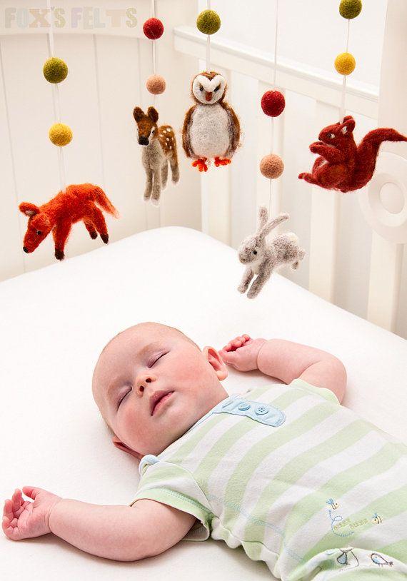 Woodland Needle Felt Mobile Nursery Mobile Baby crib by foxsfelts, $238.32 (maybe I can make it?)