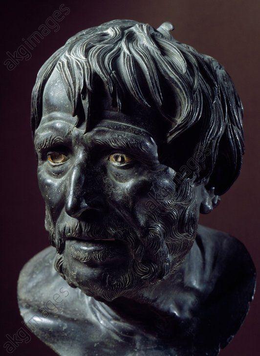 Bronze head known as Seneca, artefact uncovered in Villa dei Pisoni (Villa of the Papyri), Herculaneum, Campania, Italy. Roman Civilisation, 1st century. Naples, Museo Archeologico Nazionale (Archaeological Museum)
