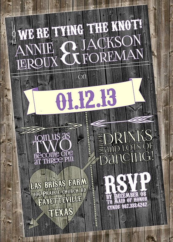Rustic Wedding Invite (other colors by request) @Jennie Pence  theres 4 new ones up