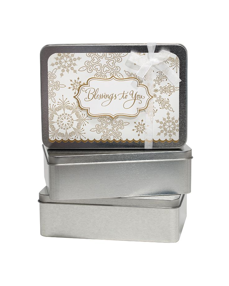 Prettily packaged canisters of cards in various holiday patterns, each $19.99. Lulu's Hallmark | 703.413.2280