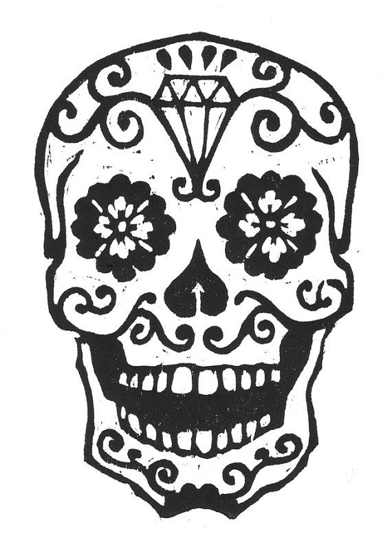 sugar skull woodcut by librarianartist on etsy 20 00 day of the