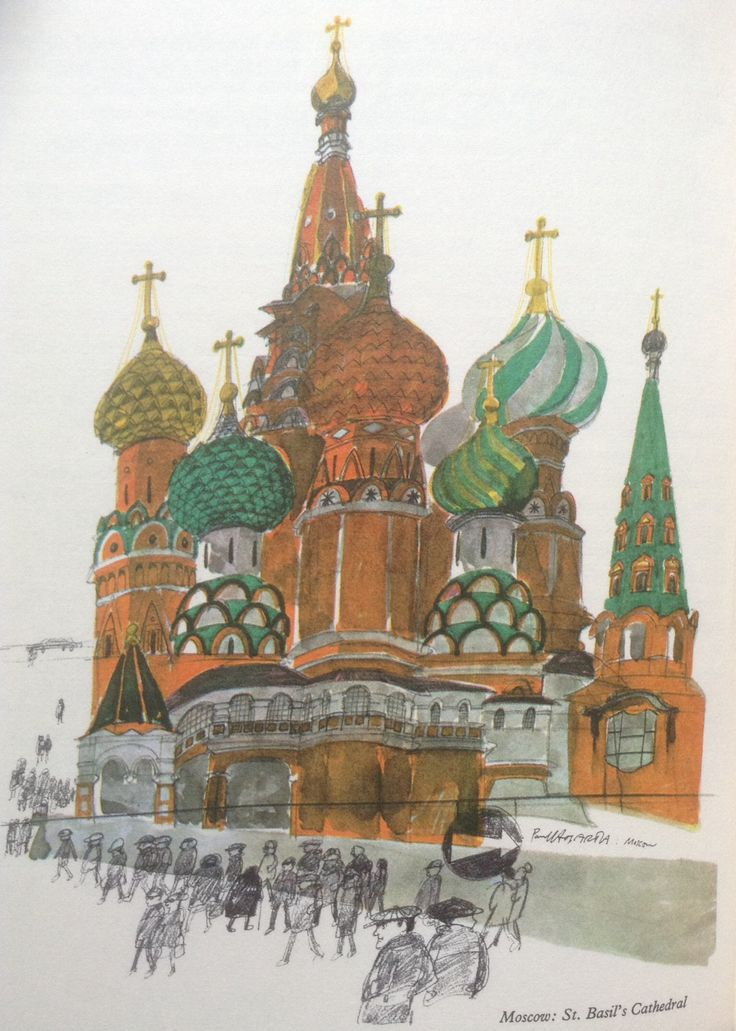 Paul Hogarth Illustration from 'A Russian Journey' published by Cassell 1969