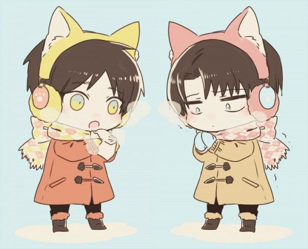 Levi and Eren Chibi, so cute!! #attackontitan #fanart