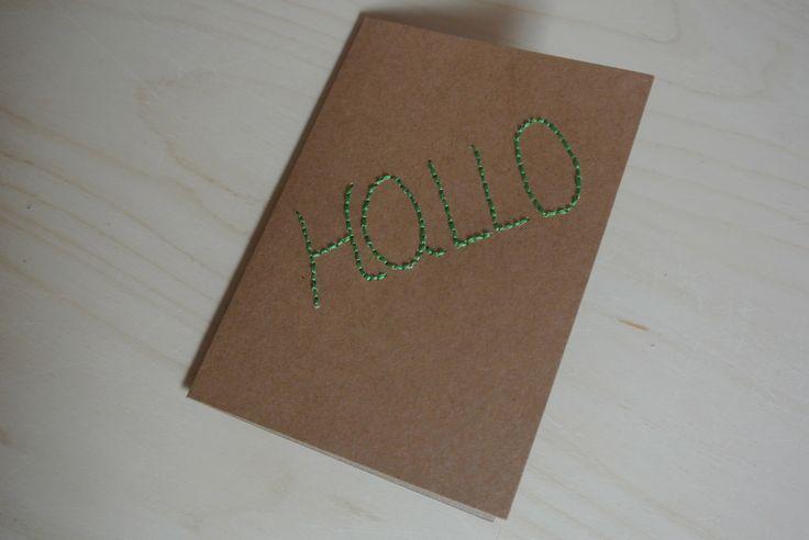 Geborduurde Hallo kaart