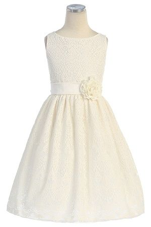 Darling Sleeveless Dress w/ Lace All Over Girl Dress