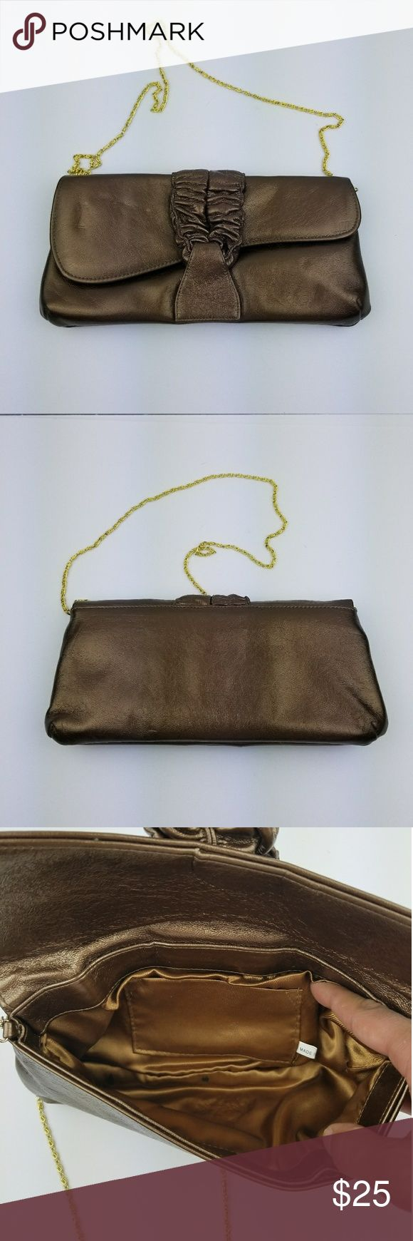 Women's Metallic Brown Clutch Bag UP for sale Women's Metallic Brown Clutch Bag Please look at all the pictures before buying it has 2 ink stains inside overall in great condition unbranded Bags Clutches & Wristlets