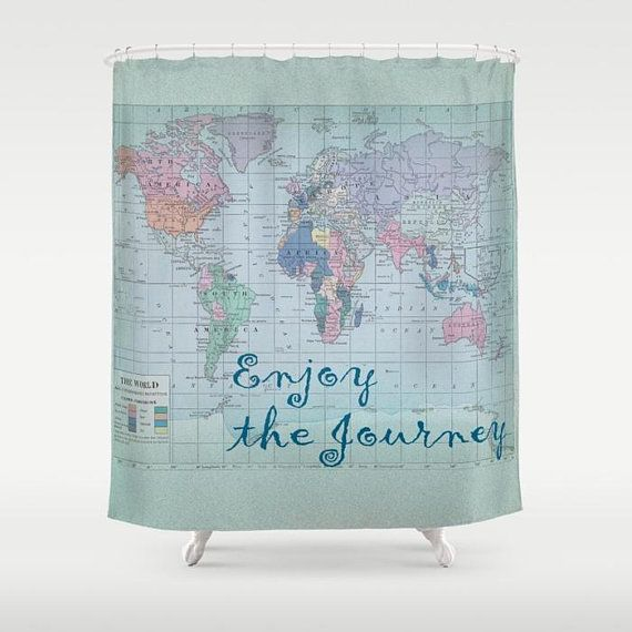 World Map Shower Curtain Enjoy The Journey Fabric Home Map Fabric Traveling By Yourself Vintage Map