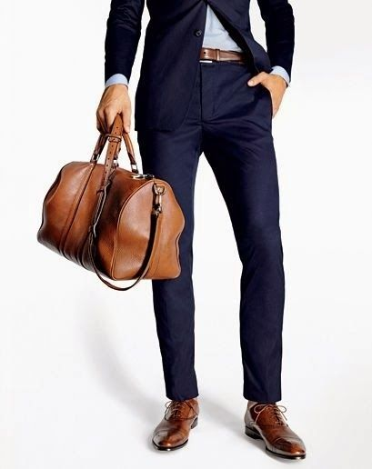 Navy Blue Poplin Suit, and Caramel Shoes and Duffle Bag, via Trend Him UK. Mens Spring Summer Fashion.