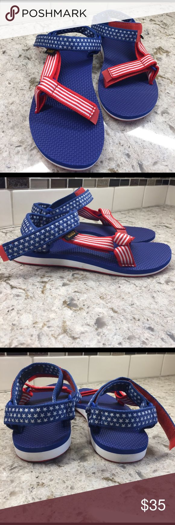 "TEVA ""4th of July"" sports sandal New in box and ready for summer celebrations great patriot sports sandal. Fun and ready for adventure Teva Shoes Athletic Shoes"