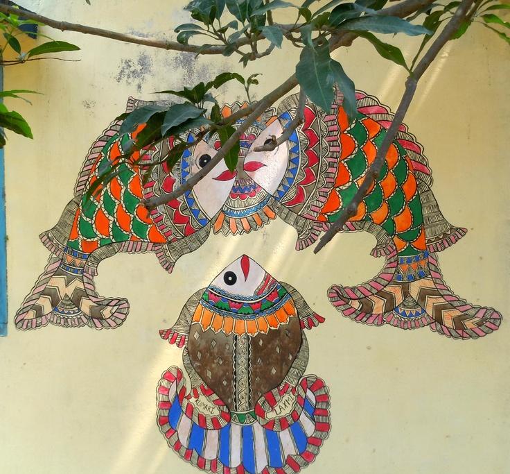 Madhubani painting by school children on the wall of a school in Madhubani, Bihar, India
