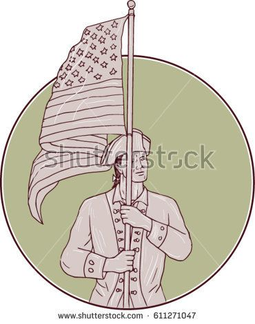 Drawing sketch style illustration of an american patriot standing in full attention carrying usa flag looking to the side viewed from front set inside circle.   #patriot #sketch #illustration