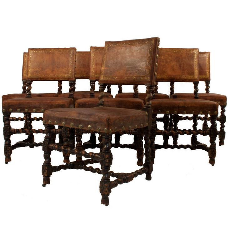 Set of 8 Leather Dining Chairs | From a unique collection of antique and modern dining room chairs at https://www.1stdibs.com/furniture/seating/dining-room-chairs/