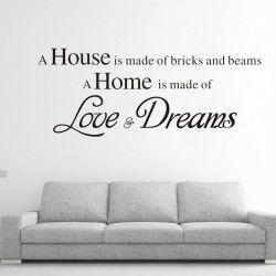 Love & Dreams!  A house is made of bricks and beams. A home is made of Love & Dreams. Dekorera hemmet en snygg och inspirerande väggdekor! Förutom motivet är även storleken direkt iögonfallande.  Länk till produkt: http://www.feelhome.se/produkt/love-dreams/  #Homedecoration #art #interior #design #Walldecor #väggdekor #interiordesign #Vardagsrum #Kontor #Modernt #vägg #inredning #inredningstips #heminredning #hus #hemma #kärlek #drömmar #citat #motivation