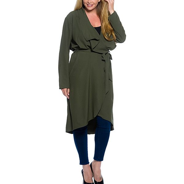 Curvy Lily Olive Ruffle Cardigan ($23) ❤ liked on Polyvore featuring plus size women's fashion, plus size clothing, plus size tops, plus size cardigans, plus size, drapey cardigan, long cardigan, lightweight long cardigan, long green cardigan and olive green cardigan