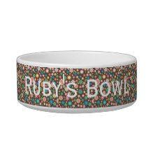 Brown & Floral Design Personalised Dog Bowl