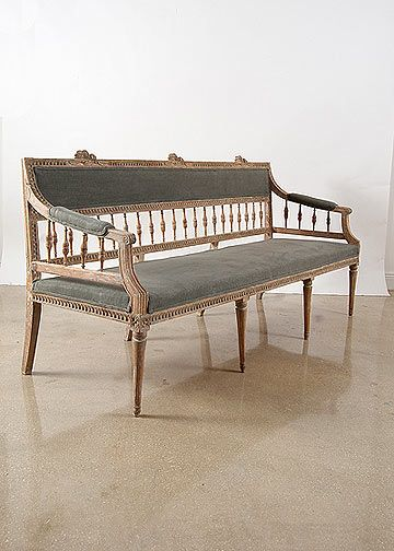 Gustavian Style - A Higher End looking Swedish style (vs Scandinavian Country Style). Swedish Antique Painted Bench