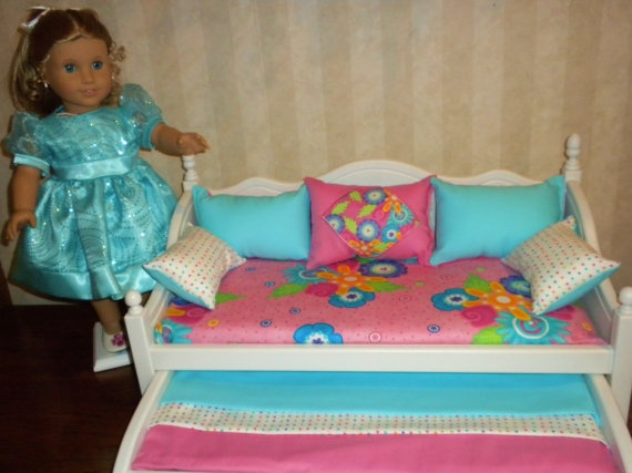 Daybed with trundle for the american girl doll by bedsandthreads 150