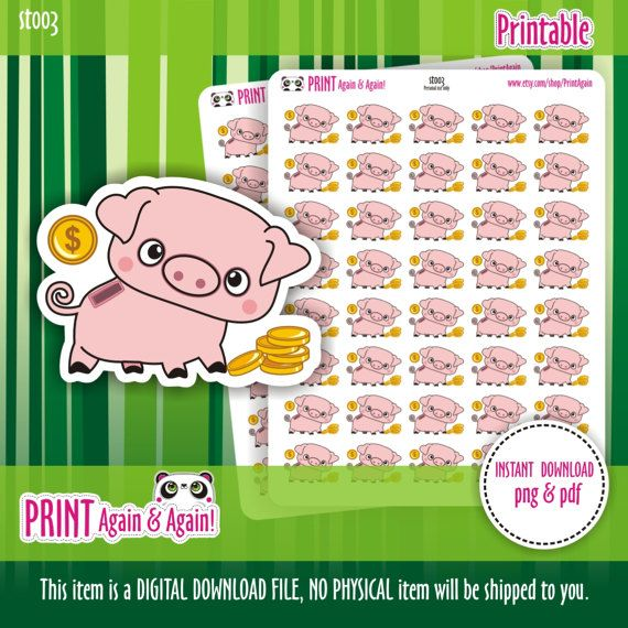 Piggy Bank Stickers Money Planner Stickers Finance by PrintAgain