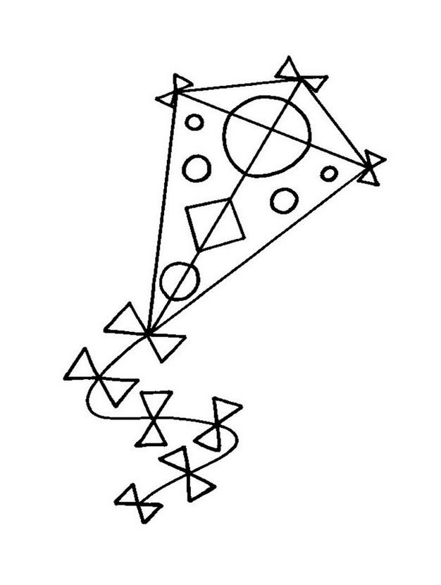coloring page kite hd - Coloring Page Kite