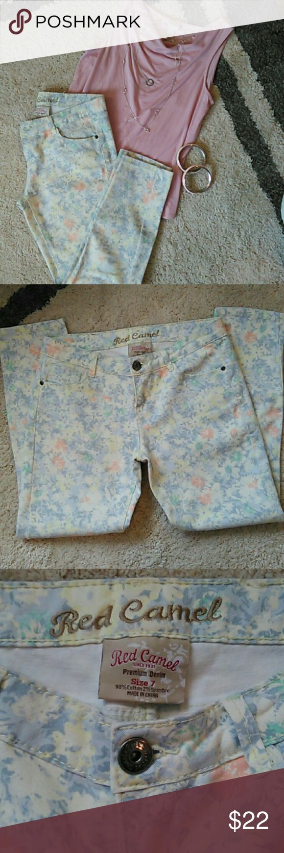 Red Camel jeans Floral jeans/ beautiful print. Wear any color shirt. These are a size 7 but fit like a 6. Purchased at Belk's dept store. Worn 1 time. Red Camel Pants
