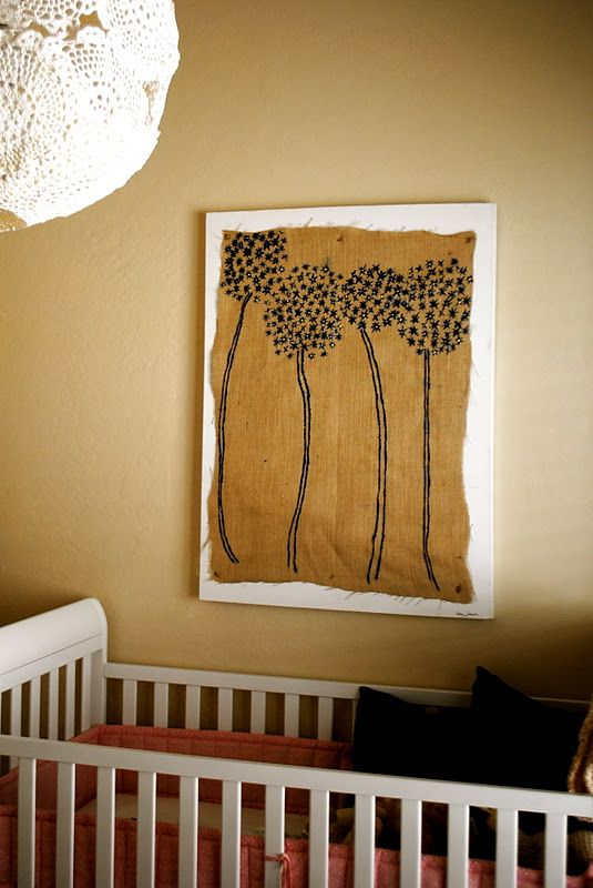 Painted Burlap Wall Art DIY Project-   A different texture to paint on!kp