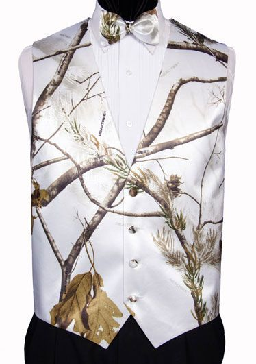 white snow camouflage wedding supplies | Snow And Branches Camouflage Tuxedo Vest