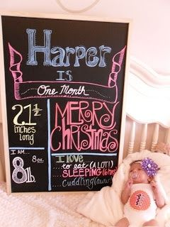 monthly baby photos. my sweet Angel was one month old on Christmas day! #monthly #baby #photo